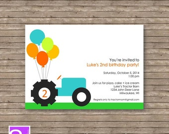 Tractor Birthday Party Invite Tractor Party Invite Printable DIY