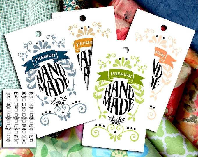 "Vintage Leaves & Doodles Laundry Care Tags – 10 Colors – 300 DPI – 2 x 3-1/2"" – Vector PDF and PNGs – DIY Printables – Handmade Supply"