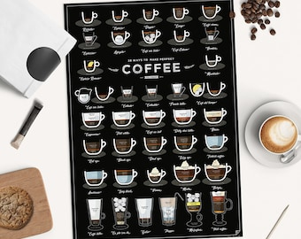 38 Ways to Make a Perfect Coffee - 2nd EDITION - home print, coffee gift, coffee poster, kitchen print