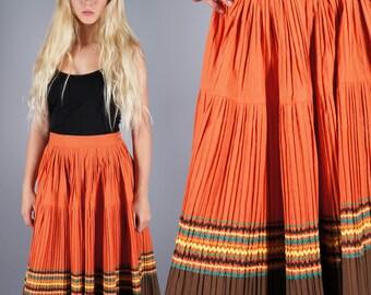 RickRack Squaw Circle Skirt Patio Crinkle Pleat Skirt 50s Orange and Brown Midi Skirt
