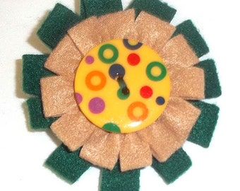Felt Flower Pin in Fall Shades of Green and Tan with Large Colorful Button F-13