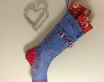 Christmas Stocking, Large, Xmas Stocking, Gift, Recycled Denim, Personalised, Custom Options, Stocking Filler, Child Gift, Gift for Him, Her