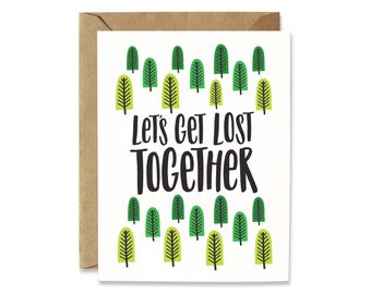 Sweet Love card, Romance card, Card for girlfriend, Card for boyfriend, Let's get Lost together, Anniversary card, Cute card, Sweet card