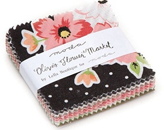 "Olive's Flower Market Lella Boutique moda fabric MINI Charm Pack 2.5"" squares"