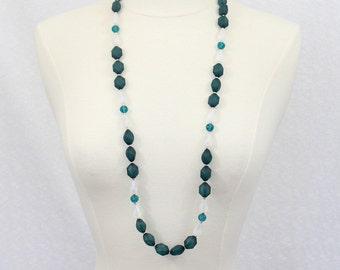 Dark Green Long Beaded Necklace Deep Blue Long Necklace Statement Necklace Stone Necklace