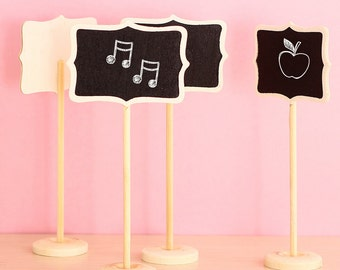 10 x mini Blackboard slates on the stick Wood decoration Gifts Placeholder table markers