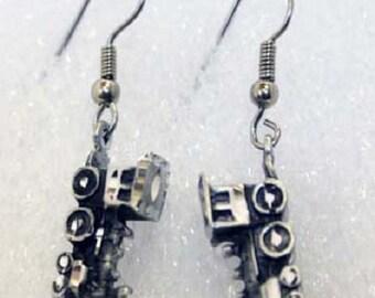 Silver Pewter Diamond Cut Train Earrings Handmade  Jewelry