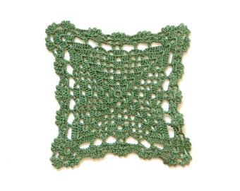 Olive green crochet Doily Vintage square doily