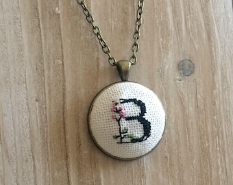 Custom Initial Necklace, Embroidered Necklace, Cross Stitch Necklace, Floral Initial Necklace, Monogram Necklace, Gift, Bridesmaid Jewelry,
