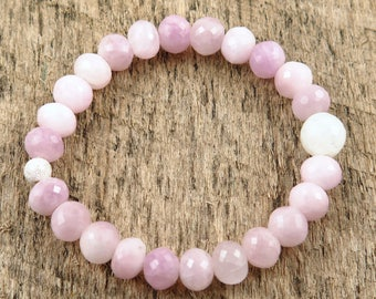 Faceted Pink Kunzite Bracelet Gemstone Bracelet Pink Gift Beaded Bracelet Stretch Bracelet Love and Healing Bracelet