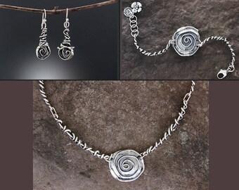 Sterling Silver Jewelry Set - Rose Jewelry - Flower Jewelry - Rose Earrings - Rose Bracelet - Rose Necklace - Flower Earrings - Statement
