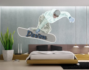 Snowboarder Wall Decal with Custom Text