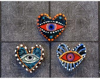 Trois gros coeur en forme d'aimants pour réfrigérateur par Jenny Mendes juste à temps pour la Saint Valentin
