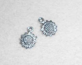 Silver Sun Flower Charms