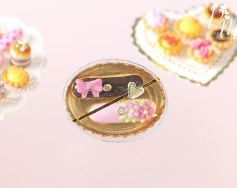 MTO -Gift Box of French Eclairs - Pink and Chocolate - Miniature Food for Dollhouse 12th scale 1:12
