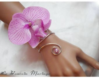 Bracelet Purple Orchid with a purple and adorned with a diamond bead