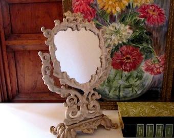 Vintage Iron Art Mirror, PM Iron Art, Cottage Chic Vanity Mirror, Standing Dresser Mirror
