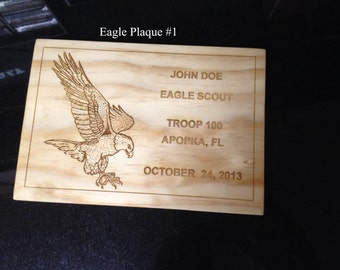Scout Eagle Award Laser Engraved Plaque #1