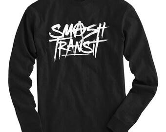 LS Smash Transit Scrawled Tee - Long Sleeve T-shirt - Men S M L XL 2x 3x 4x - Anarchy Shirt, Street Art, Graffiti, Cycling - 4 Colors