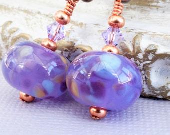 Purple lilac lavender earrings, artisan lampwork glass earrings with Swarovski, copper earrings, purple glass earring, glass beaded earrings