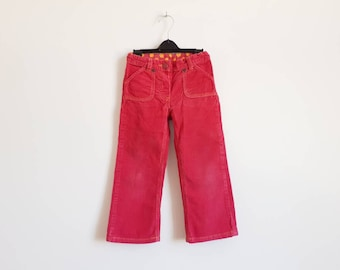 Red corduroy pants, Vintage cords for toddler girl, 3 - 4 years size, Fall style trousers for party, Kids high waist pants
