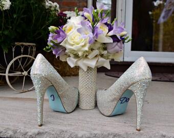 Rhinestone and Pearl Bouquet Cuff Bouquet Holder Wrap...The Original BridalBling