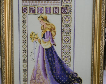 COMPLETED Finished Framed Cross Stitch on Linen Lavender and Lace Celtic Spring