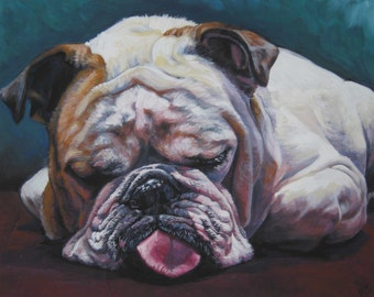 "ENGLISH BULLDOG dog art portrait canvas PRINT of LAShepard painting 8x10"""