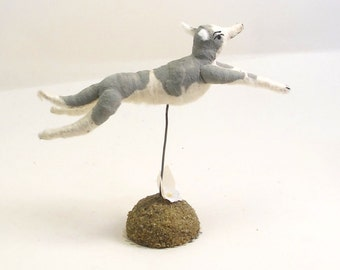 Spun Cotton Vintage Inspired Grey and White Leaping Greyhound Dog Figure (MADE TO ORDER)