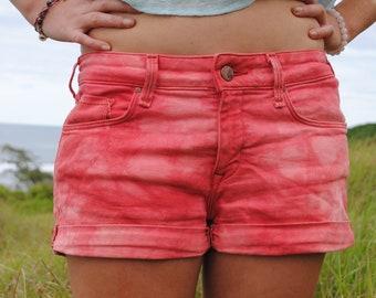 Denim Tye Dyed Jean Short Shorts in Pink Red // Ladies Size 30