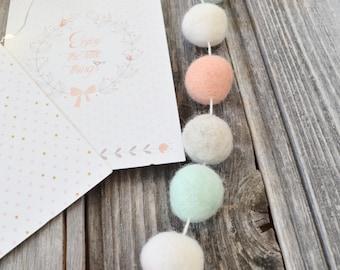 Felted wool balls Garland