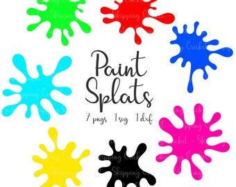 Paint splats svg dxf & png, Silhouette Cricut, vector, clipart, cutfile, ink splatter, paint splash, paint spots INSTANT DOWNLOAD