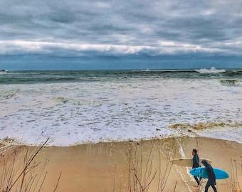 Winter Surfing Photagraphic Print, Seashore, Beach, Wall Decal