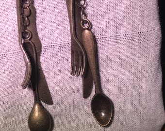 Bronze Utensil Earrings