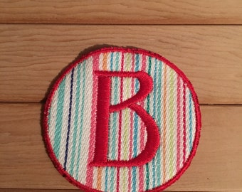 Stripe Iron-On Monogram, Embroidery Letter B