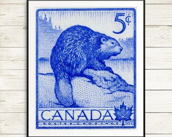 Canadian beaver poster art, Canada beaver art prints, cute beaver wall art, beaver postage stamp, Canada unique cottage decor, postage stamp