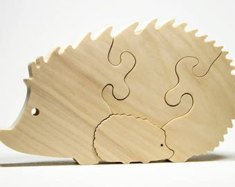 Wood Puzzle, Personalized Toy Puzzle, Educational Toy Hedgehog Puzzle, Toddler Toy, Nursery Decor, Baby Shower, Baptism, Christmas Gift