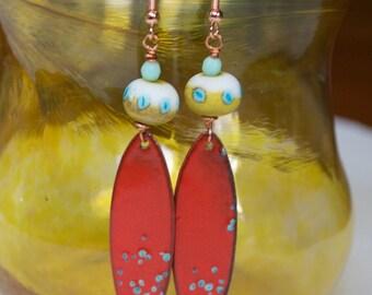 Enamel Earrings, Cherry Red Earrings, Long, Boho Hippie, Modern Enamel Jewelry, Artisan Enamel Copper, Lampwork Glass Bead Earrings