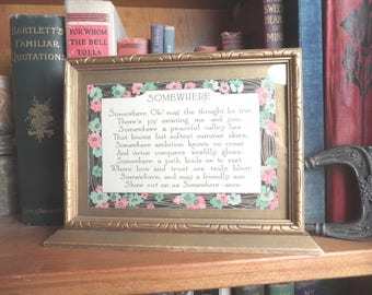 Standing framed 'Somewhere' verse picture / small, vintage Art Nouveau