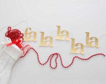 Christmas garland - fa la la la la gold glitter banner - handmade holiday decor - lowercase glitter garland - Christmas photo prop