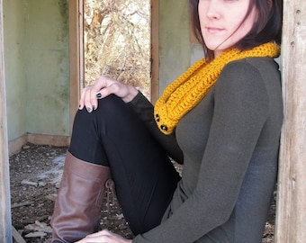 Crochet yellow infinity scarf/ neck warmer/ mustard yellow cowl/ autumn, winter infinity scarf with buttons/ choose your color and length
