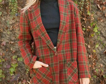 Vintage plaid red and green blazer
