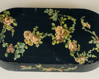 Teal Blue Painted Wood Decoupage Box with Roses