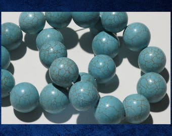 """Magnesite, Turquoise - 15"""" strand of 16mm round ball. Approx 23 gemstone beads. #MAG-083"""
