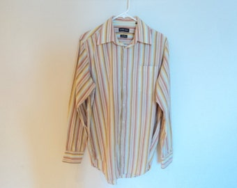 Mens vintage blouse. Multicolor striped blouse (yellow, Brown, white and pale blue). Horst vintage.