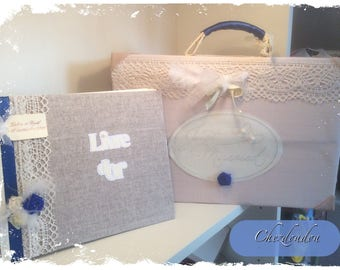 """Urn suitcase set and guest book """"just married"""" romantic and vintage"""