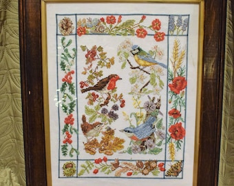 Vintage bird cross stitch, British birds, vintage bird picture, vintage cross stitch, vintage needlepoint, vintage decor, bird gift