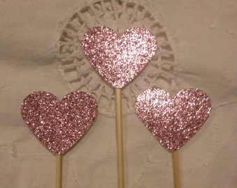 Dusky Pink Glitter Heart  Cupcake Cake Toppers - Wedding, Birthday, Event. Set of 10