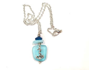 Anchor Necklace, Anchor Seaglass Necklace, Sea Glass Pendant, Sea Glass Jewelry, Nautical Necklace, Beach Glass Jewelry, Nautical Jewelry
