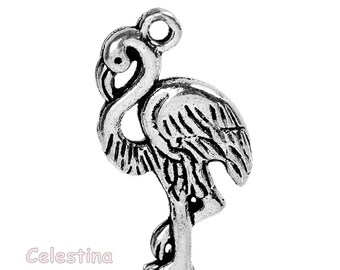 10 x Antique Silver Flamingo Charms, Flamingo Croquet Stick, Alice In Wonderland Charms - TS473B